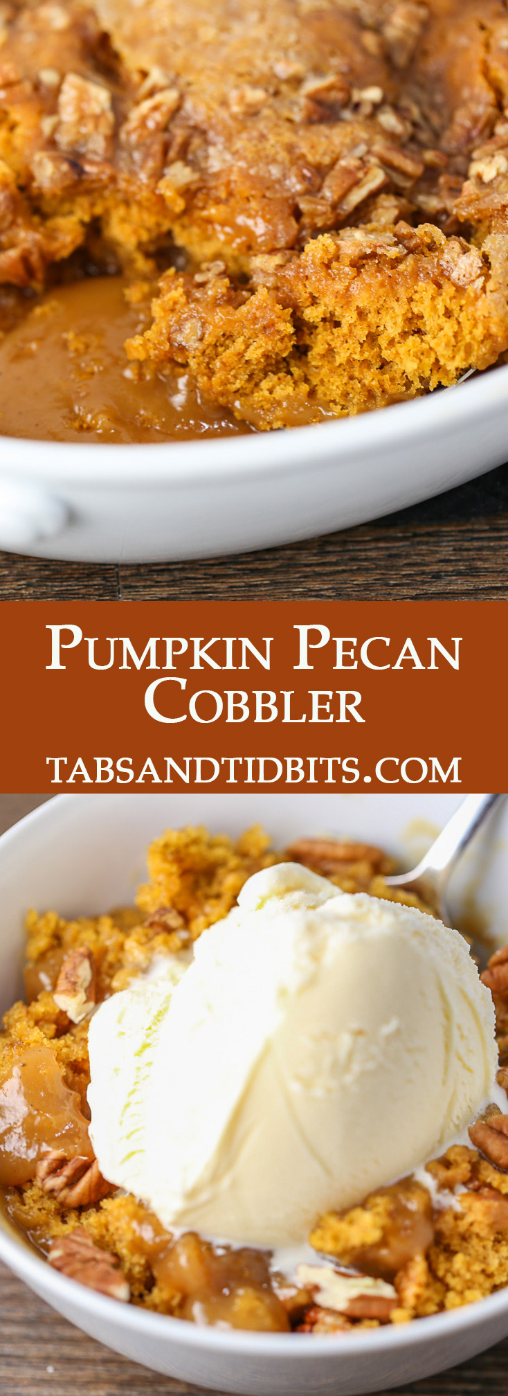 A pumpkin spice cake-like cobbler with a surprise hot caramel sauce on the bottom. Best served with a generous scoop of vanilla ice cream!