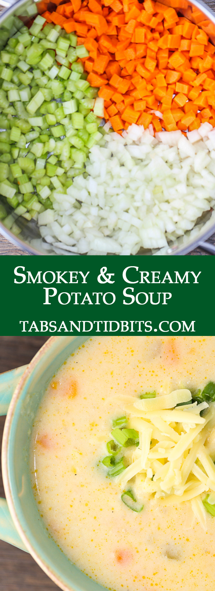A filling potato soup filled with veggies, creaminess and delicious smokey seasonings topped with smokey Gouda cheese!