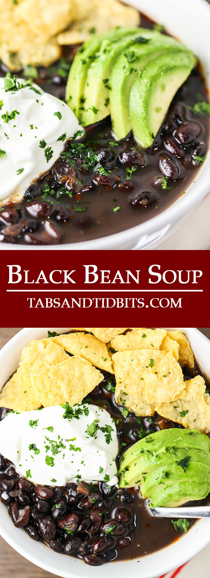 Dried black beans are cooked with veggies, adobo sauce, red wine vinegar, and oregano to deliver on one amazing pot of soup. The toppings only add to a deliciously warm and hearty bowl of soup!