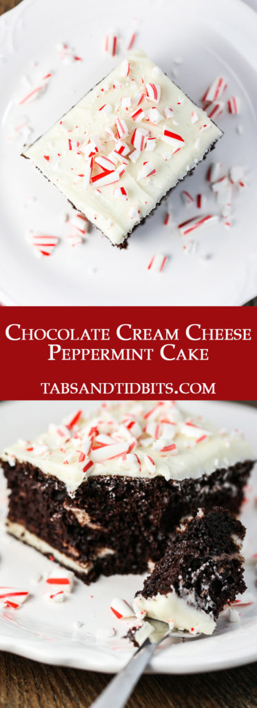 A delicious chocolate cake swirled with cream cheese and topped with a peppermint and vanilla cream cheese frosting topped with crushed candy canes!