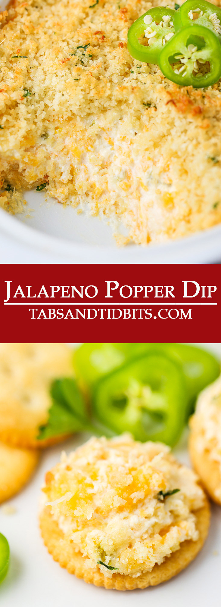 This Jalapeno Popper Dip is filled with cream cheese, sharp cheddar cheese, and diced jalapeno peppers. A creamy and cheesy dip with the perfect amount of spice and topped with a buttery and crispy topping!
