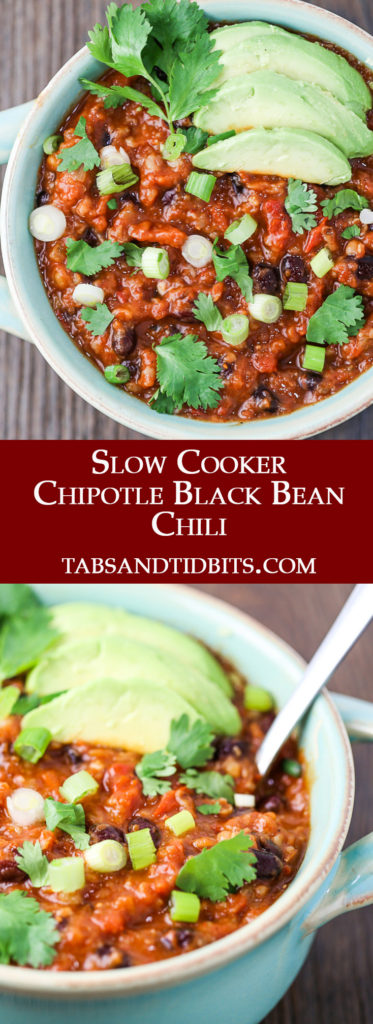 This Slow Cooker Chipotle Black Been Chili is a spicy and smoky chili filled with bulgar, black beans, and delicious spices!