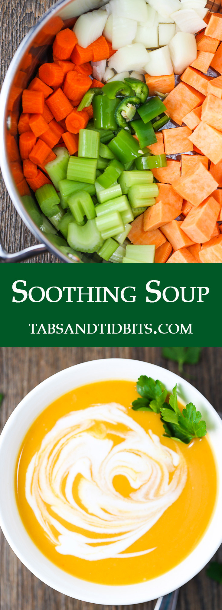 Sweet potatoes, carrots, onions, celery, and jalapenos are blended together to create a smooth and soothing soup!