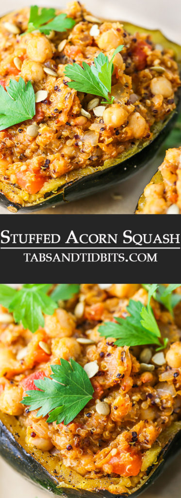 Stuffed Acorn Squash is baked and stuffed with a filling protein packed mixture of quinoa, chickpeas, tomatoes and a variety of spices! Both vegetarian and vegan-friendly and full of nutrition!