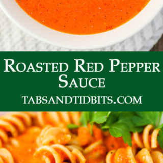 This Roasted Red Pepper Sauce is simple to put together with roasted jarred red pepper strips! A rich and bright sauce that will liven up your pasta!